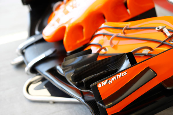 Sochi Autodrom, Sochi, Russia. Thursday 27 April 2017. McLaren show support for injured F4 driver Billy Monger, with a BillyWhizz sticker on a front-wing end-plate. World Copyright: Steven Tee/LAT Images ref: Digital Image _R3I0820