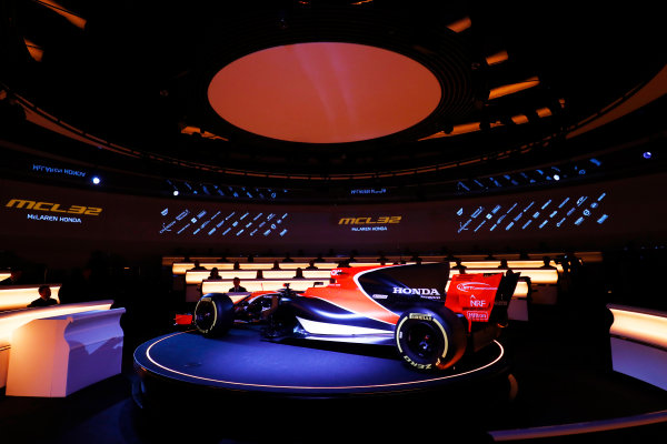 McLaren MCL32 Honda Formula 1 Launch. McLaren Technology Centre, Woking, UK. Friday 24 February 2017. The MCL32 is launched. World Copyright: Steven Tee/LAT Images Ref: _R3I5074