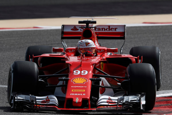 Bahrain International Circuit, Sakhir, Bahrain.  Tuesday 18 April 2017. Antonio Giovinazzi, Ferrari SF70H. World Copyright: Glenn Dunbar/LAT Images ref: Digital Image _X4I1916