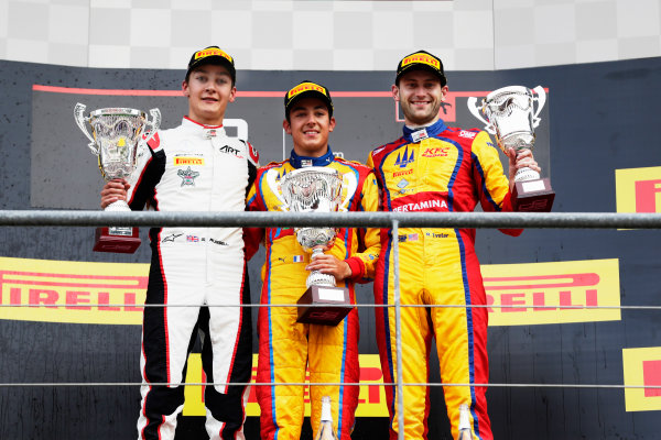 Spa Francorchamps, Belgium.  Sunday 27 August 2017 George Russell (GBR, ART Grand Prix).Giuliano Alesi (FRA, Trident).Ryan Tveter (USA, Trident). Photo: Bloxham/GP3 Series Media Service ref: Digital Image _56I3164