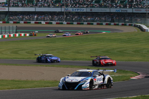 2017 Japanese Super GT Series. Suzuka, Japan. 26th - 27th August 2017. Rd 6. GT500 Winner Bertrand Baguette & Kosuke Matsuura ( #64 Epson Modulo NSX-GT ) action World Copyright: Yasushi Ishihara / LAT Images. Ref: 2017SGT_Rd6_004