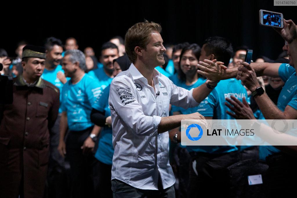 2016 Mercedes AMG F1 World Championship Celebrations. Kuala Lumpur, Malaysia Tuesday 29 November 2016. Drivers World Champion Nico Rosberg pays a visit to team sponsor Petronas in Kuala Lumpur. Photo: Steve Etherington/LAT Photographic ref: Digital Image SNE11482