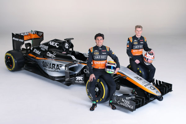 Force India VJM08 Livery Reveal Museo Soumaya, Mexico City, Mexico Wednesday 21 January 2015. World Copyright: Sahara Force India (Copyright Free) ref: Digital Image jm1521ja64