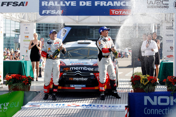 Round 11-Rallye de France. 29/9-02/10 2011.Petter Solberg, Citroen WRC, Podium.Worldwide Copyright: McKlein/LAT