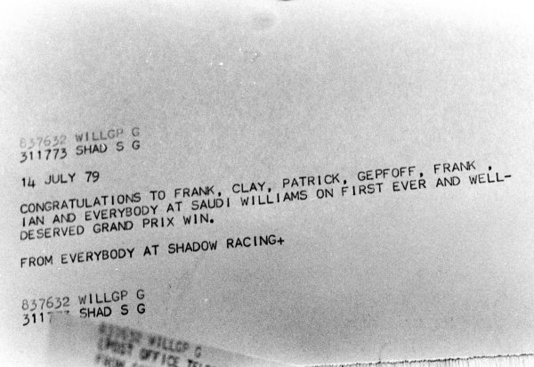 Silverstone, England.12-14 July 1979.The Williams team receive a telegram from Shadow after their first GP win. This was Williams Grand Prix Engineering's maiden Grand Prix victory. World Copyright - LAT Photographic
