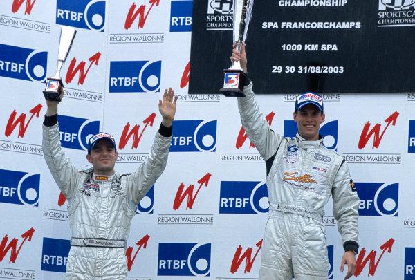2003 British Formula Three ChampionshipSpa Francorchamps, Belgium. 30th - 31st August 2003.Double race winner Alan van der Merwe (Carlin), and Jamie Green (3rd race 2), podium.World Copyright: Glenn Dunbar/LAT Photographicref: 35mm Image 03Spa05