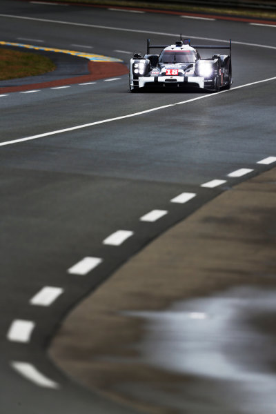 2015 Le Mans 24 Hours. Circuit de la Sarthe, Le Mans, France. Wednesday 10 June 2015. Porsche Team (Porsche 919 Hybrid - LMP1), Romain Dumas, Neel Jani, Marc Lieb.  Photo: Sam Bloxham/LAT Photographic. ref: Digital Image _SBL6114