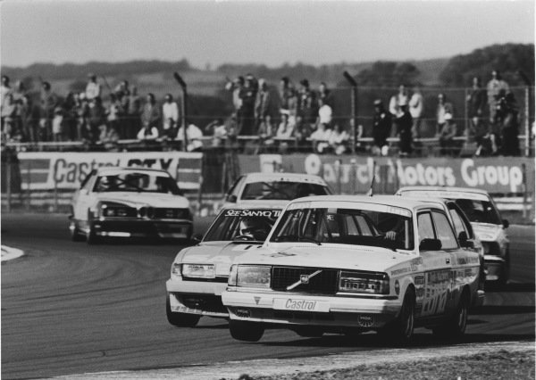 1984 European Touring Car Championship. RAC Tourist Trophy. Silverstone, Great Britain. 9th September 1984. Ulf Granberg / Eje Elgh (Volvo 240 Turbo), 7th position, action. World Copyright: LAT Photographic.  Ref:  84SilvTT B.