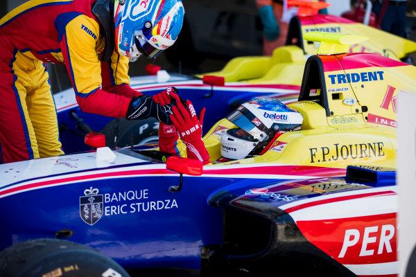 2017 GP3 Series Round 4.  Hungaroring, Budapest, Hungary. Sunday 30 July 2017. Ryan Tveter (USA, Trident), Giuliano Alesi (FRA, Trident).  Photo: Zak Mauger/GP3 Series Media Service. ref: Digital Image _54I4358
