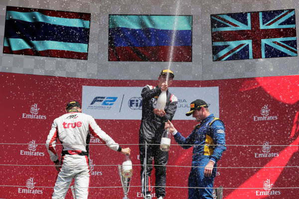 Red Bull Ring, Spielberg, Austria. Sunday 9 July 2017 Artem Markelov (RUS, RUSSIAN TIME). Alexander Albon (THA, ART Grand Prix). Oliver Rowland (GBR, DAMS).  Photo: Mauger/FIA Formula 2 ref: Digital Image _54I0417