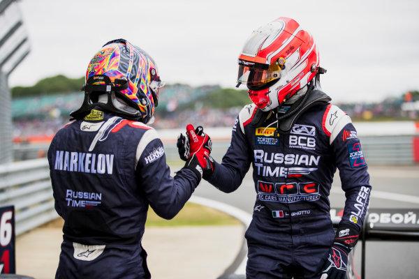 2017 FIA Formula 2 Round 6. Silverstone, Northamptonshire, UK. Sunday 16 July 2017. Luca Ghiotto (ITA, RUSSIAN TIME), Artem Markelov (RUS, RUSSIAN TIME).  Photo: Zak Mauger/FIA Formula 2. ref: Digital Image _56I0631