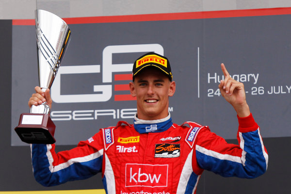 2015 GP3 Series Round 4. Hungaroring, Budapest, Hungary.  Sunday 26 July 2015. Kevin Ceccon (ITA, Arden International) celebrates on the podium. World Copyright: Sam Bloxham/LAT Photographic. ref: Digital Image _G7C3472