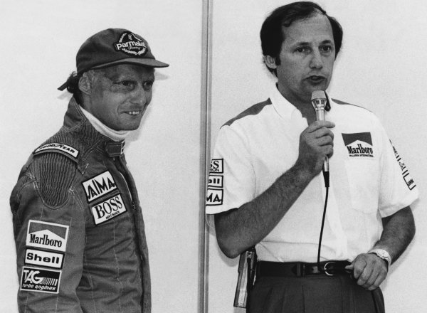 Osterreichring, Zeltweg, Austria 16th - 18th August 1985. Ron Dennis annouces the retirement of Niki Lauda from racing at the end of the season, portrait. World Copyright: LAT Photographic. Ref: B/W Print.