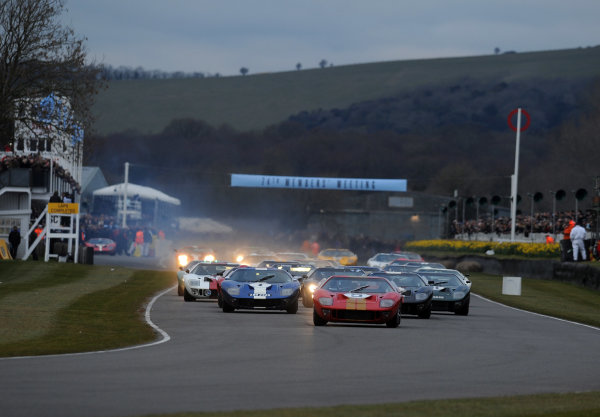 2016 74th Members Meeting Goodwood Estate, West Sussex,England 19th - 20th March 2016 Race 2 Alan Mann Trophy Start Kenny Brack leads World Copyright : Jeff Bloxham/LAT Photographic Ref : Digital Image