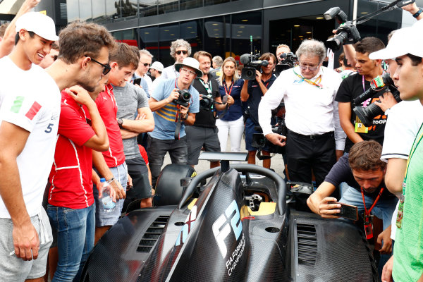 Autodromo Nazionale di Monza, Italy. Thursday 31 August 2017 The new 2018 F2 car in the paddock. Photo: Sam Bloxham/FIA Formula 2 ref: Digital Image _W6I2068