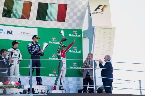 2017 FIA Formula 2 Round 9. Autodromo Nazionale di Monza, Monza, Italy. Sunday 3 September 2017. Sergio Sette Camara (BRA, MP Motorsport), Luca Ghiotto (ITA, RUSSIAN TIME), Antonio Fuoco (ITA, PREMA Racing).  Photo: Zak Mauger/FIA Formula 2. ref: Digital Image _56I9209