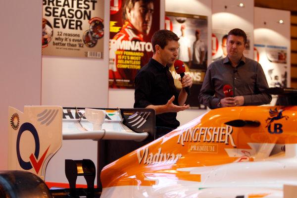 Autosport International Show NEC, Birmingham.  Saturday 12th January 2013. Anthony Davidson and David Croft on the F1 Racing display. World Copyright:Glenn Dunbar/LAT Photographic ref: Digital Image _G7C6303