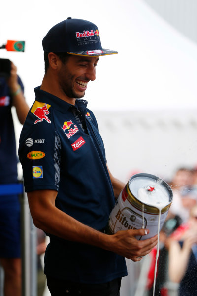 Hockenheim, Germany. Saturday 30 July 2016. Daniel Ricciardo, Red Bull Racing, with a frothing, oversized, can of beer. World Copyright: Andy Hone/LAT Photographic ref: Digital Image _ONY7714