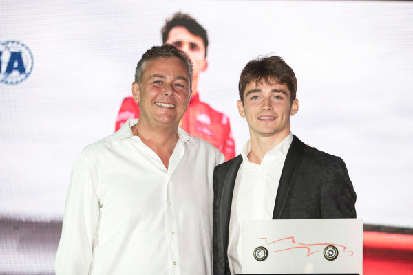 2017 Awards Evening. Yas Marina Circuit, Abu Dhabi, United Arab Emirates. Sunday 26 November 2017. Charles Leclerc (MCO, PREMA Racing).  Photo: Zak Mauger/FIA Formula 2/GP3 Series. ref: Digital Image _56I3809