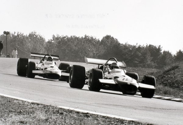 1969 United States Grand Prix Watkins Glen, United States. 5 October 1969 Piers Courage, Brabham BT26-Ford, 2nd position, leads Jack Brabham, Brabham BT26-Ford, 4th position, action World Copyright: LAT PhotographicRef: b&w print