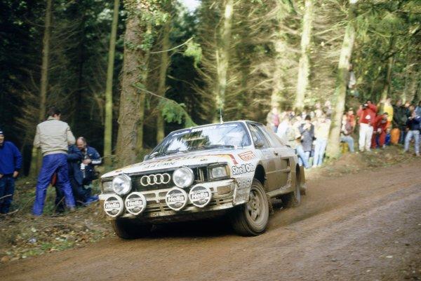 1984 World Rally Championship.Lombard RAC Rally, Great Britain. 25-29 November 1984.Hannu Mikkola/Arne Hertz (Audi Quattro A2), 2nd position.World Copyright: LAT PhotographicRef: 35mm transparency 84RALLY14