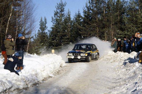 1979 World Rally Championship.Swedish Rally, Sweden. 16-18 February 1979.Stig Blomqvist/Bjorn Cederberg (Saab 99 Turbo), 1st position.World Copyright: LAT PhotographicRef: 35mm transparency 79RALLY02