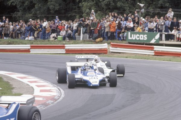 1980 British Grand Prix.Brands Hatch, Great Britain. 11-13 July 1980.Jacques Laffite (Ligier JS11/15-Ford Cosworth) and Alan Jones (Williams FW07B-Ford Cosworth) follow Didier Pironi (Ligier JS11/15-Ford Cosworth) early in the race. Jones finished in 1st position.World Copyright: LAT PhotographicRef: 35mm transparency 80GB16