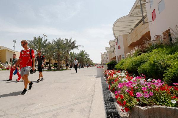 Bahrain International Circuit, Sakhir, Bahrain.  Friday 14 April 2017. Sebastian Vettel, Ferrari.  World Copyright: Sam Bloxham/LAT Images ref: Digital Image _W6I8314
