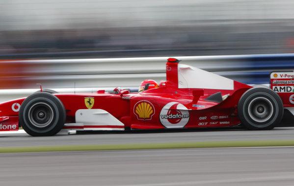 2004 British Grand Prix - Friday Practice,Silverstone, Britain. 09th July 2004.Michael Schumacher (Ferrari F2004).World Copyright: Steve Etherington/LAT Photographic ref: Digital Image Only