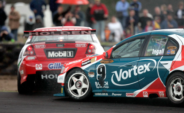 2004 Australian V8 SupercarsSymmons Plain Raceway, Tasmania. November 14th.V8 Supercar driver Mark Skaife spins out of race 1 after he and Russell Ingall came togeather in turn 1 during race 1World Copyright: Mark Horsburgh/LAT Photographicref: Digital Image Only