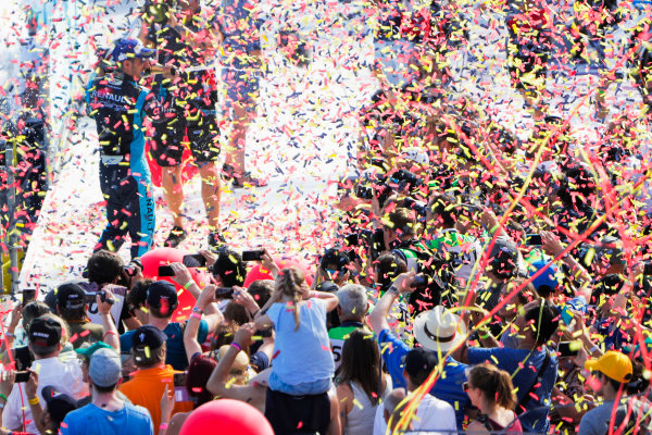 2016/2017 FIA Formula E Championship. Round 8 - Berlin ePrix, Tempelhof Airport, Berlin, Germany. Sunday 11 June 2017. Sebastien Buemi (SUI), Renault e.Dams, Spark-Renault, Renault Z.E 16, sprays the champagne on the podium. Photo: Zak Mauger/LAT/Formula E ref: Digital Image _56I5876