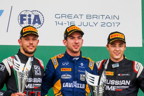 2017 FIA Formula 2 Round 6. Silverstone, Northamptonshire, UK. Sunday 16 July 2017. Luca Ghiotto (ITA, RUSSIAN TIME), Nicholas Latifi (CAN, DAMS), Artem Markelov (RUS, RUSSIAN TIME).  Photo: JEP/FIA Formula 2. ref: Digital Image AX7K2499