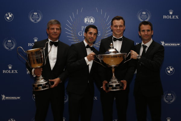 2016 FIA Prize Giving Vienna, Austria Friday 2nd December 2016 Fritz Enzinger, Neel Jani, Marc Leid and Romain Dumas. Photo: Copyright Free FOR EDITORIAL USE ONLY. Mandatory Credit: FIA ref: 31381759745_77ce292eea_o