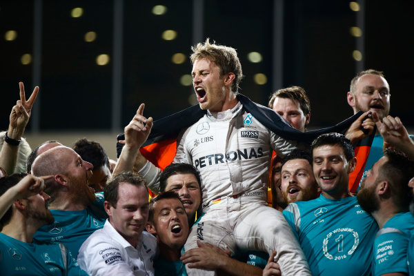Yas Marina Circuit, Abu Dhabi, United Arab Emirates. Sunday 27 November 2016. Nico Rosberg, Mercedes AMG, 2nd Position and new World Champion, celebrates with his team, friends and family. World Copyright: Andrew Hone/LAT Photographic ref: Digital Image _ONY8248