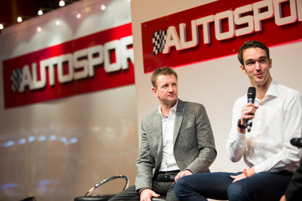 Autosport International Exhibition. National Exhibition Centre, Birmingham, UK. Friday 9 January 2015. Allan McNish and Harry Tincknell on the Autosport stage. World Copyright: Malcolm Griffiths/LAT Photographic. ref: Digital Image A50A1480