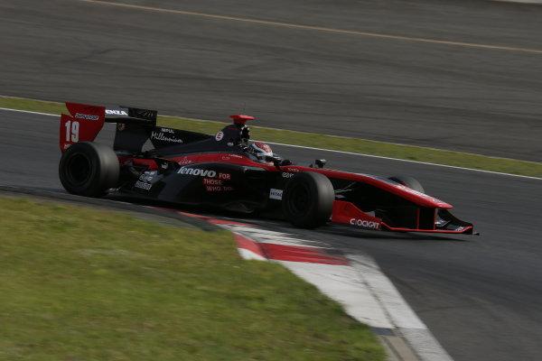 2014 Super Formula Series. Fuji, Japan. 17th - 18th May 2014. Rd 2. Race 2 - 2nd position Joao Paulo de Oliveira ( #19 Lenovo TEAM IMPUL SF14 ) action World Copyright: Yasushi Ishihara / LAT Photographic. Ref: 2014SF_Rd2_025.JPG