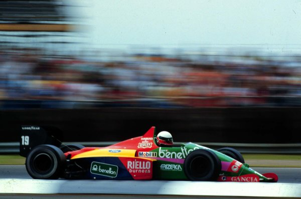 1987 British Grand Prix.Silverstone, England.10-12 July 1987.Teo Fabi (Benetton B187 Ford) 6th position.World Copyright - LAT Photographic