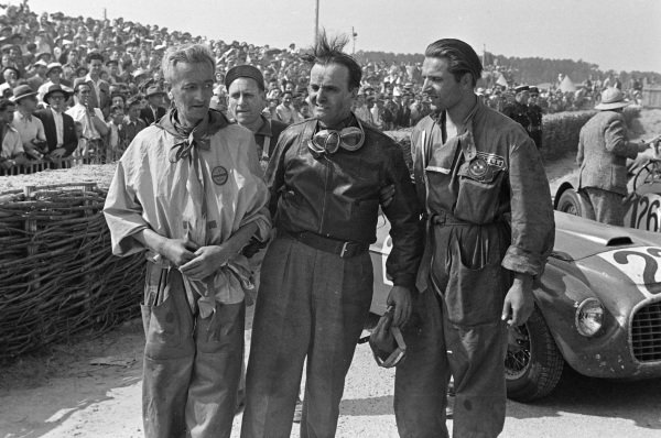 Overall winners Lord Selsdon / Luigi Chinetti, Ferrari 166MM, after the race.