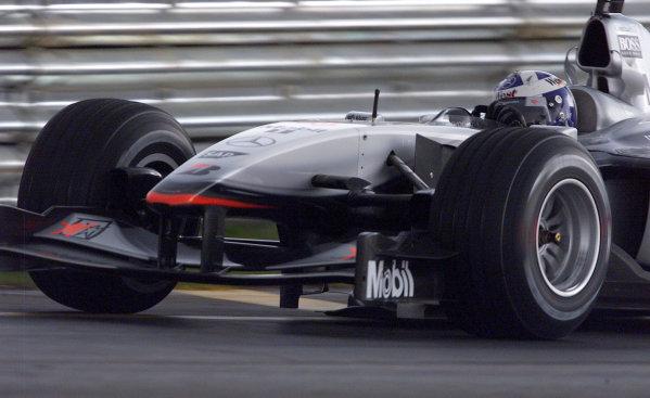 2001 Brazilian Grand Prix.Interlagos, Sao Paulo, Brazil. 30/3-1/4 2001.David Coulthard (McLaren MP4/16 Mercedes) 1st position.World Copyright - Steve Etherington/LAT Photographic ref: 18MB Digital