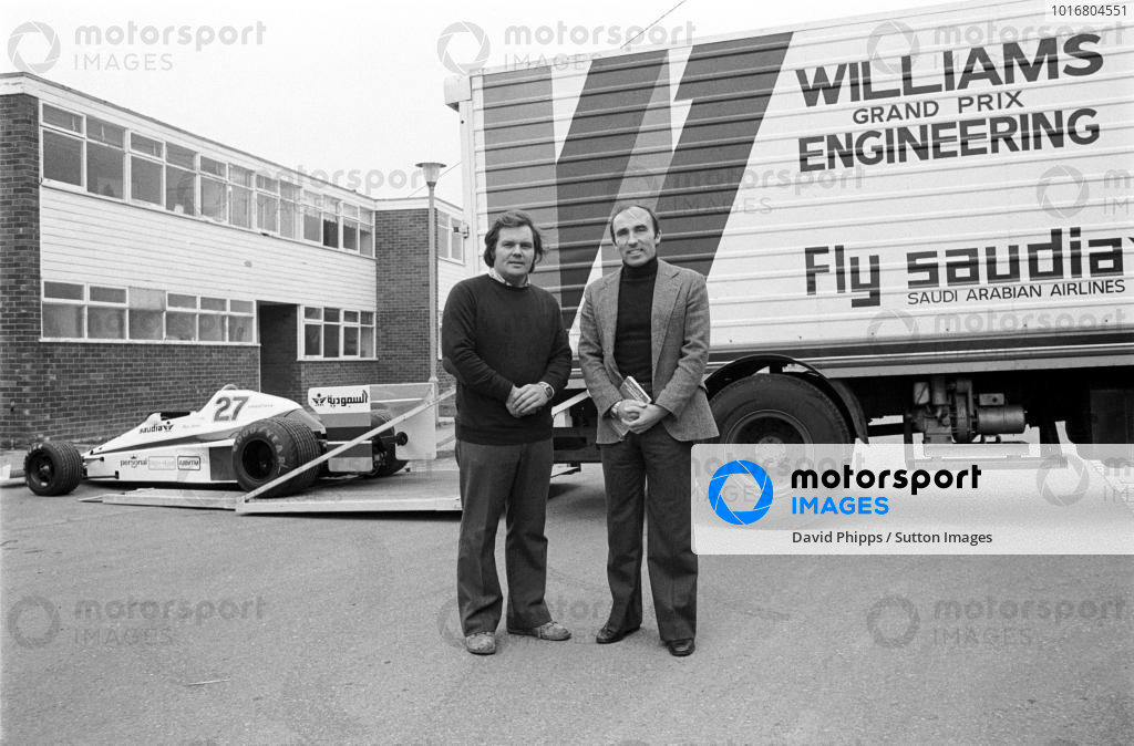Patrick Head (GBR) (Left) and Frank Williams (GBR) at the launch of the Williams FW06 at their new Factory. Didcot, Oxfordshire, England, 1978.