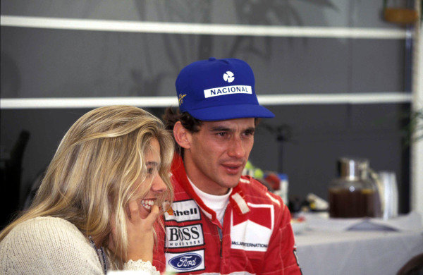 Ayrton Senna and his girlfriend Adriana Galisteu.
