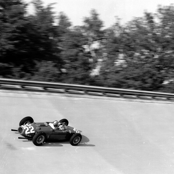 1960 Italian Grand Prix.Monza, Italy.2-4 September 1960.Wolfgang von Trips (Ferrari Dino 246P) 5th position, on the banking.Ref-7222.World Copyright - LAT Photographic