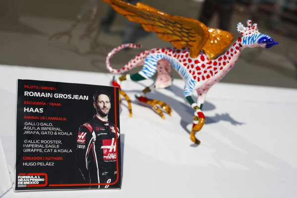 Alebrijes sculpture on the autograph table of Romain Grosjean, Haas F1 Team.