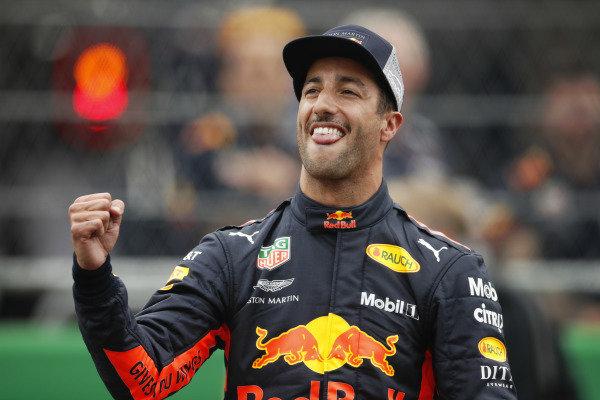 Daniel Ricciardo, Red Bull Racing, celebrates after taking Pole Position