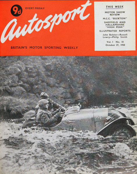 Cover of Autosport magazine, 27th October 1950. Main Picture: H.H.Cryer in his Ford, splashes through the swollen streams during the Ilkley and D.M.C.'s October Sporting Trial near Gouththwaite Reservoir, Pateley Bridge.