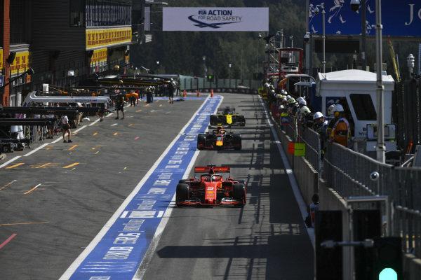 Sebastian Vettel, Ferrari SF90 exits the pit lane