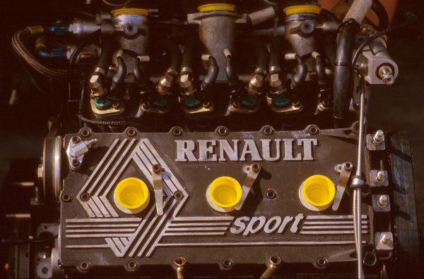 Jacarepagua, Rio de Janeiro, Brazil.5-7 April 1985.Renault Sport's EF15 twin turbocharged V6 engine unit, as used by Team Lotus and Equipe Renault during the 1985 season.Ref-85 BRA 15.World Copyright - LAT Photographic