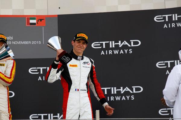2015 GP3 Series Round 9 Yas Marina Circuit, Abu Dhabi, UAE. Sunday 29 November 2015. Esteban Ocon (FRA, ART Grand Prix)  Photo: Sam Bloxham/GP3 Series Media Service. ref: Digital Image _G7C8733