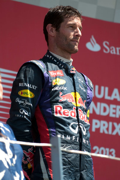 Silverstone, Northamptonshire, England 30th June 2013 Mark Webber, Red Bull Racing, 2nd position, on the podium World Copyright: Chris Bird/  ref: Digital Image _CJB6751