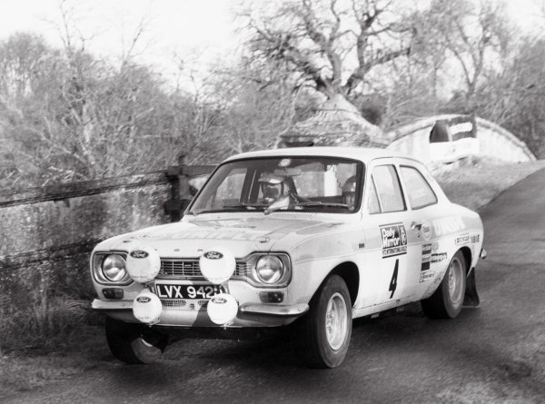 1972 Daily Mirror RAC Rally.York, England. 2nd - 3rd December 1972.Roger Clark/Tony Mason (Ford Escort RS1600) 1st position, action.World Copyright: LAT Photographic.ref; B/W print